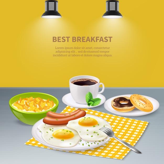 Realistisch ontbijt Gratis Vector