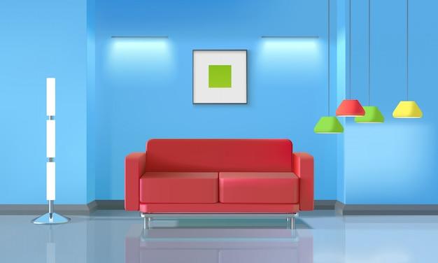 Realistisch ontwerp van de woonkamer Gratis Vector