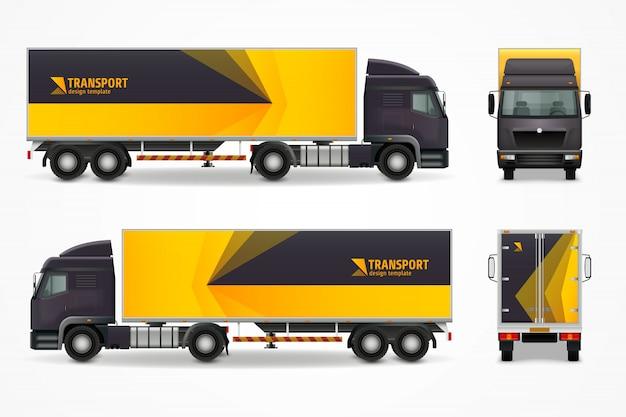 Realistisch ontwerp van vrachtvoertuigen mockup ad Premium Vector