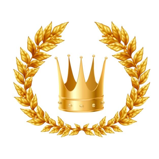 Realistisch ontwerpconcept met gouden lauwerkrans en kroon Gratis Vector