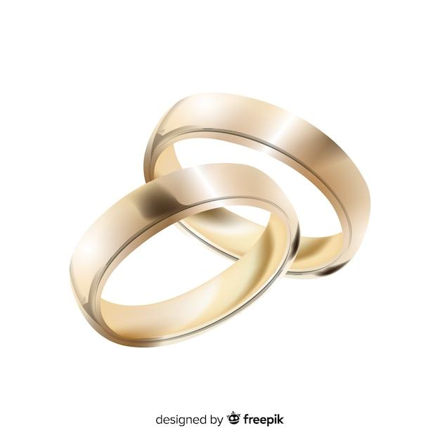 Realistisch paar gouden trouwringen Gratis Vector