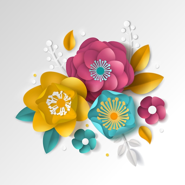 Realistisch papieren bloemen Gratis Vector