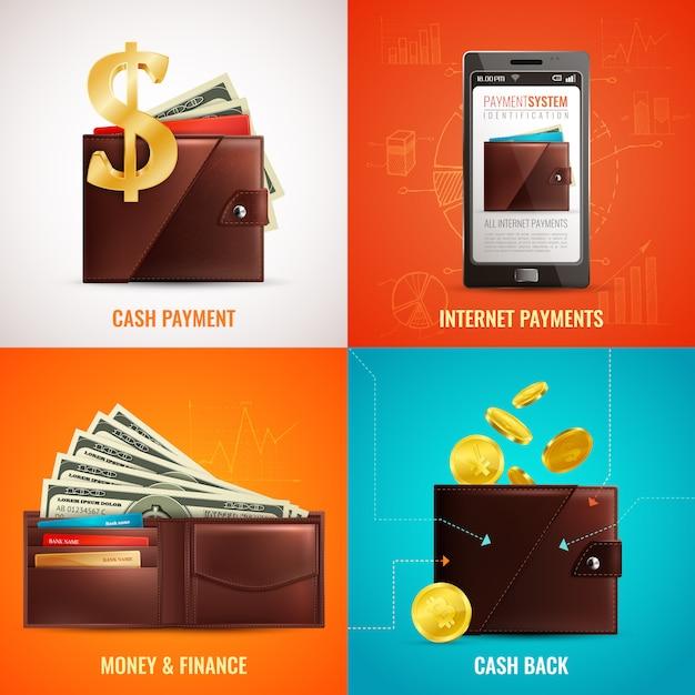 Realistisch portemonneeontwerpconcept met afbeeldingen van klassieke lederen muntbetalingssymbolen en smartphoneapplicatie Gratis Vector