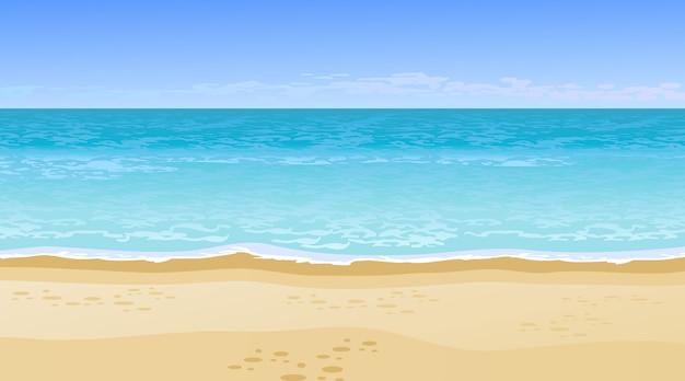 Realistisch prachtig uitzicht op zee. zomervakantie concept. Gratis Vector