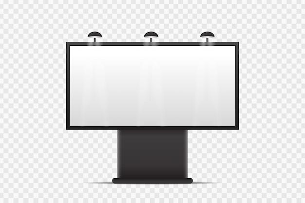 Realistisch reclamebord voor bedekking op de transparante achtergrond. lege sjabloon mock-up voor decoratie en reclame. Premium Vector