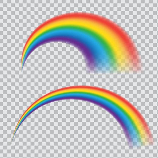 Realistisch regenboogpictogram. veelkleurige cirkelboog geïsoleerd op transparante achtergrond. ronde boog van spectrumkleuren. Premium Vector