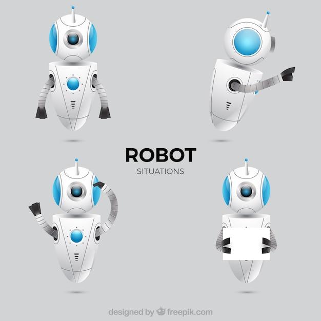 Realistisch robotkarakter met verschillende stelt inzameling Gratis Vector