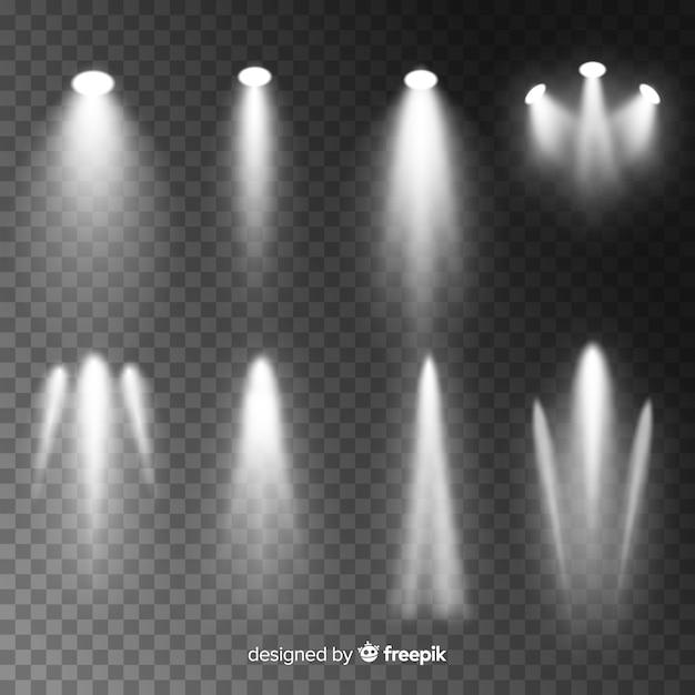 Realistisch scèneverlichtingspakket Gratis Vector