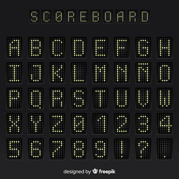 Realistisch scorebordenalfabet Gratis Vector