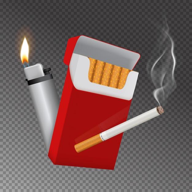 Realistisch sigarettenpak en lichtere compositie Gratis Vector