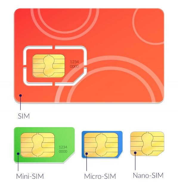 Realistisch simkaartenpictogram dat met verschillende types mini micro en nano sim illustratie wordt geplaatst Gratis Vector