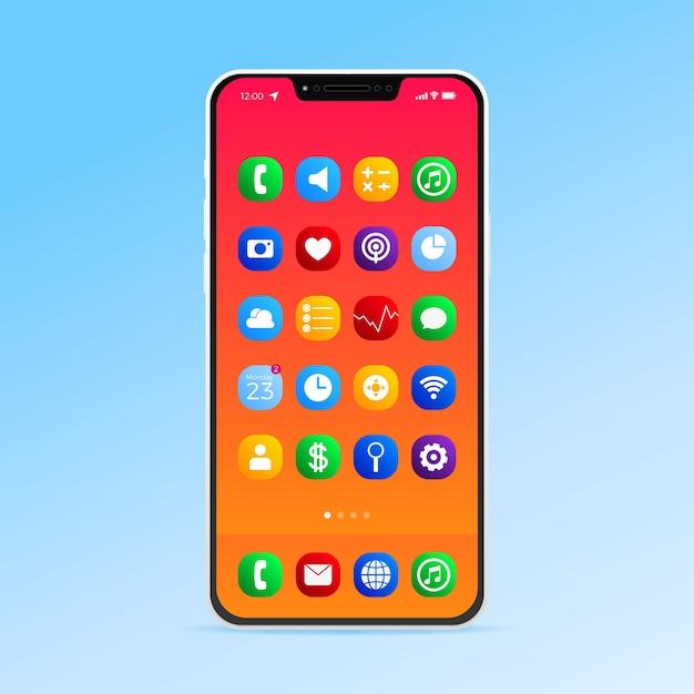 Realistisch smartphonescherm met verschillende apps Gratis Vector