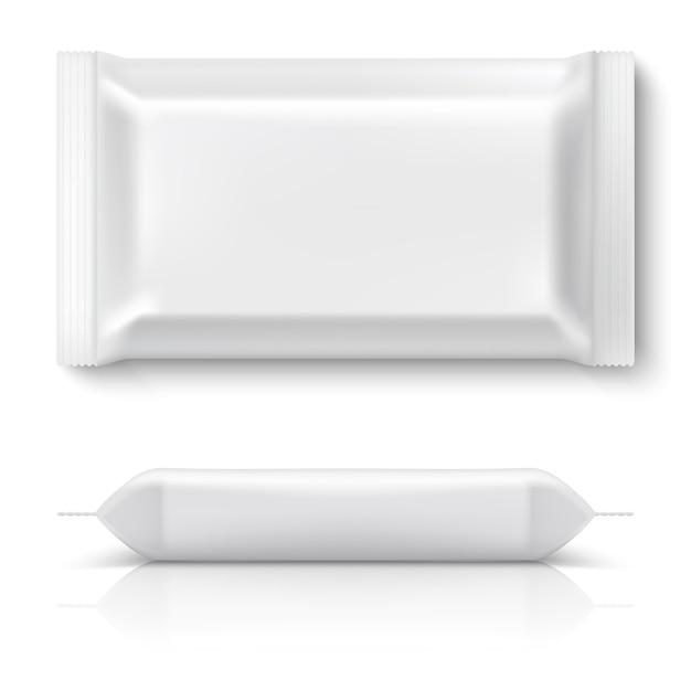 Realistisch stroompakket. realistische witte voedselpakket koekjeskussenfolie lege snackkoekjes plastic verpakkingen mock-up. 3d-sjabloon Premium Vector