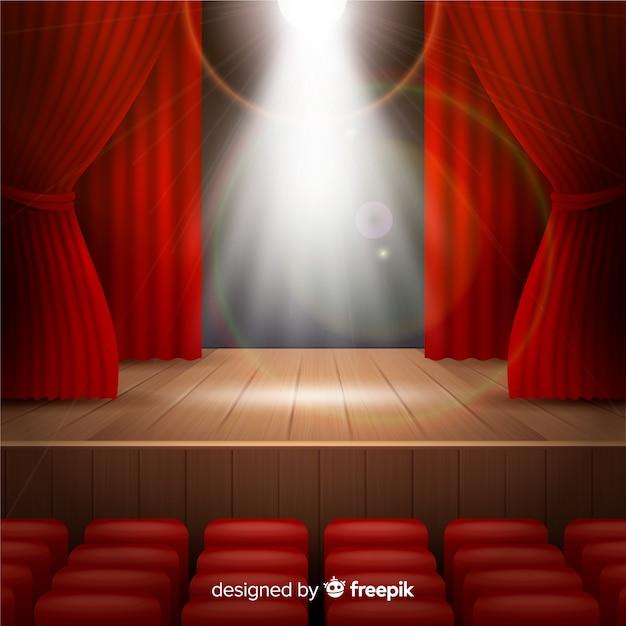 Realistisch theaterpodium met schijnwerpers Gratis Vector