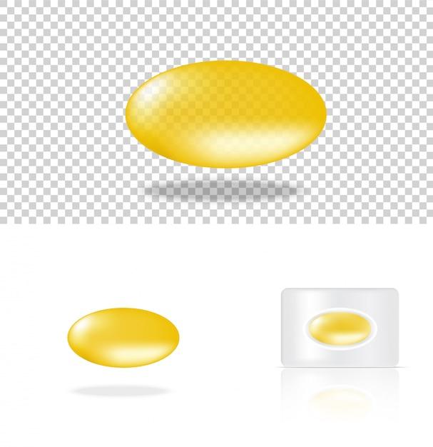 Realistisch transparant pil geel medicijnpaneel Premium Vector