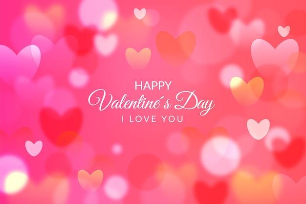 Realistisch valentijnsdagbehang met hartjes Gratis Vector