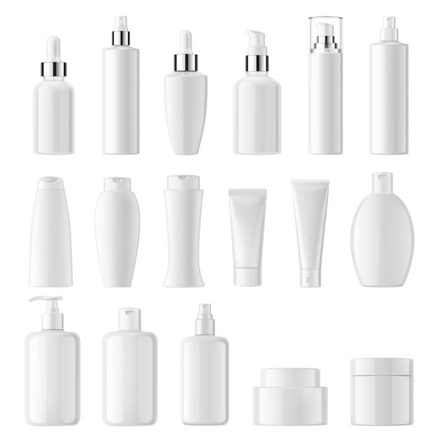 Realistisch van cosmetische witte schone flessen Premium Vector