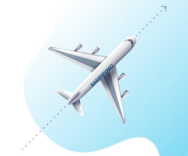 Realistisch vliegend vliegtuig, hoog gedetailleerd vliegtuig. Premium Vector