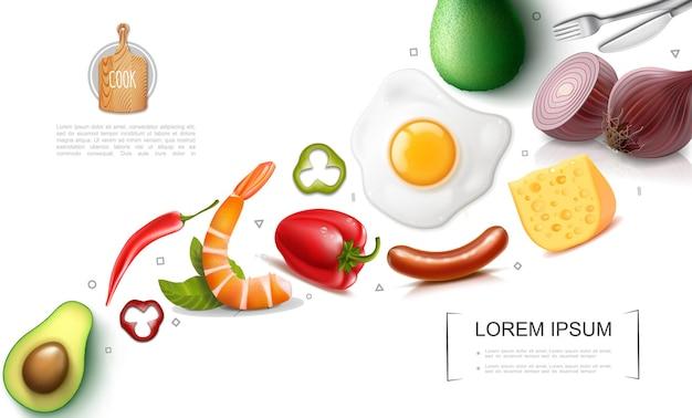 Realistisch voedsel kleurrijk concept met avocado rood en chilipepers worstjes kaas omelet ui vork mes Gratis Vector