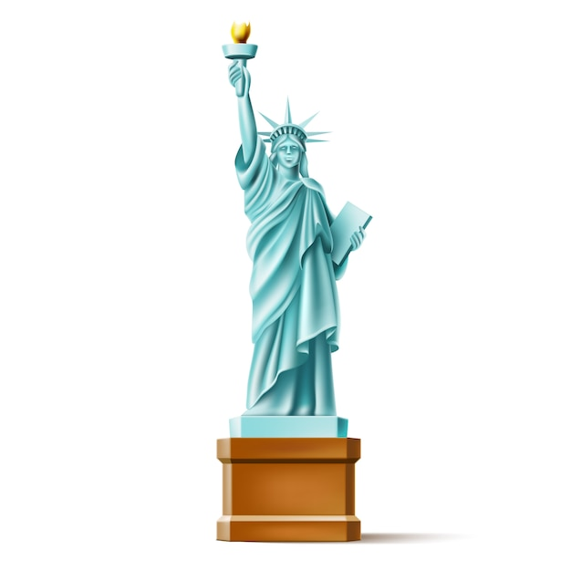 Realistisch vrijheidsbeeld in amerika, beroemde bezienswaardigheid Premium Vector