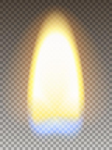 Realistisch vuur. matchstickvlam met geel en blauw gedeelte. transparantie raster. Premium Vector