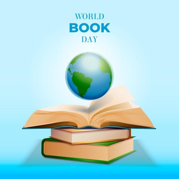 Realistisch wereldboek dag concept Gratis Vector