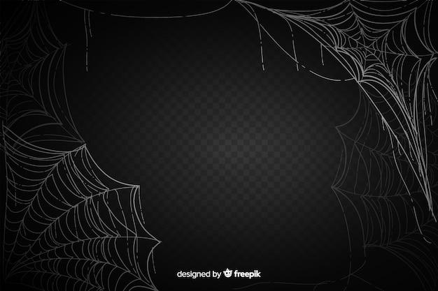 Realistisch zwart spinneweb met gradiënt Premium Vector