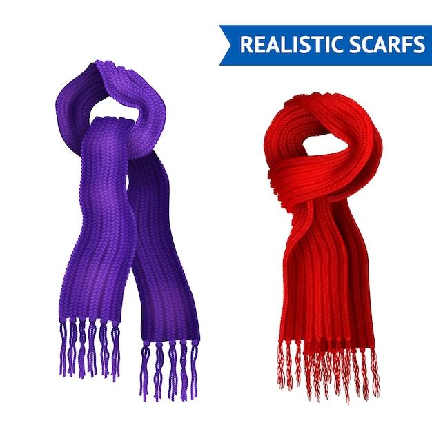 Realistische 3d afbeelding set van 2 gebreide sjaal paars en rode kleur gebonden Gratis Vector