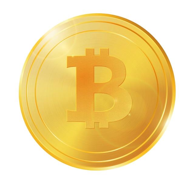 Realistische 3d gouden bitcoin muntstukvector Premium Vector