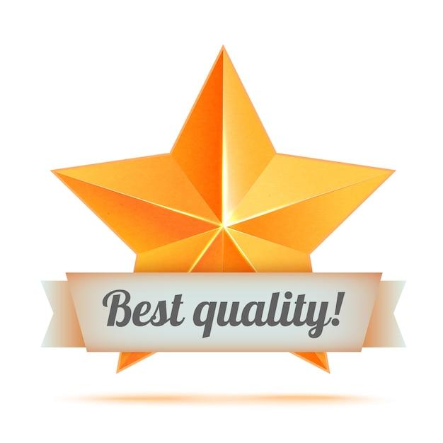 Realistische 3d-gouden ster. prijswinnaar. goed gedaan. de beste beloning. bulk koperen ster. eenvoudige ster, beste kwaliteit. de prijs voor de beste keuze. premiumklasse. gouden 3d ster met lint Premium Vector