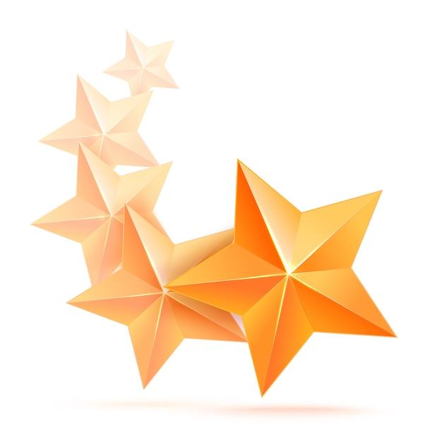 Realistische 3d-gouden ster. prijswinnaar. vijf gouden sterren. goed gedaan. beste beloning. bulk koperen ster. eenvoudig 5 sterren. de prijs voor de beste keuze. premiumklasse. Premium Vector
