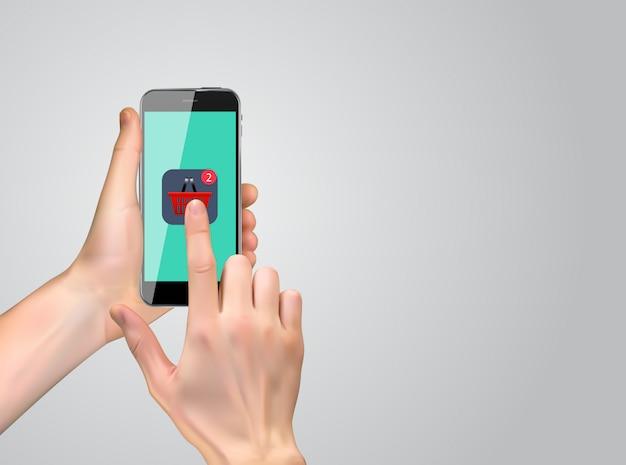 Realistische 3d-hand met winkelen pictogram. Premium Vector