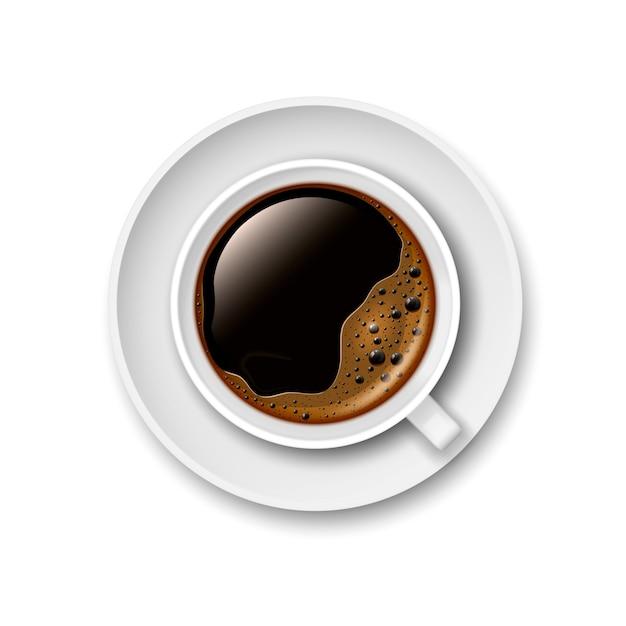 Realistische 3d-kopje zwarte koffie op een schoteltje. uitzicht van boven. vector illustratie. Premium Vector