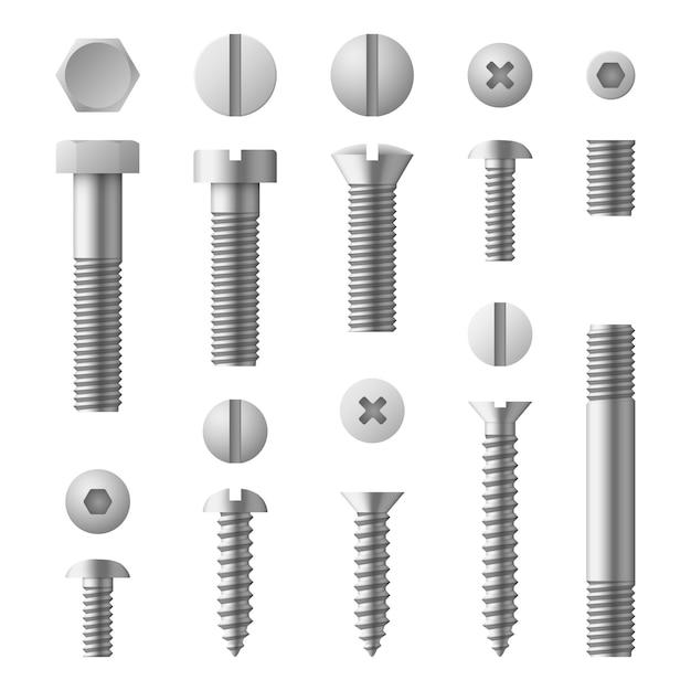 Realistische 3d metalen bouten, moeren, klinknagels en schroeven geïsoleerde set Premium Vector