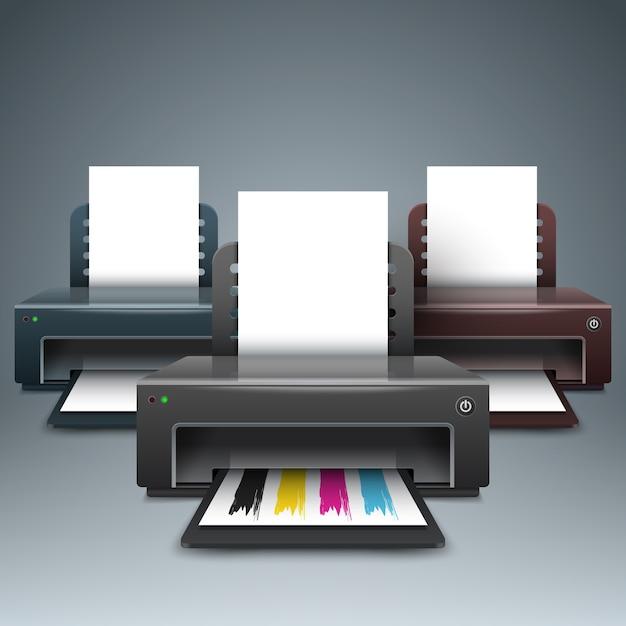 Realistische 3d-printer. zakelijke infographic. Premium Vector