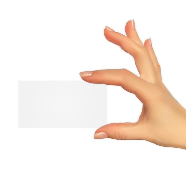 Realistische 3d-silhouet van de hand met gift voucher sjabloon Premium Vector