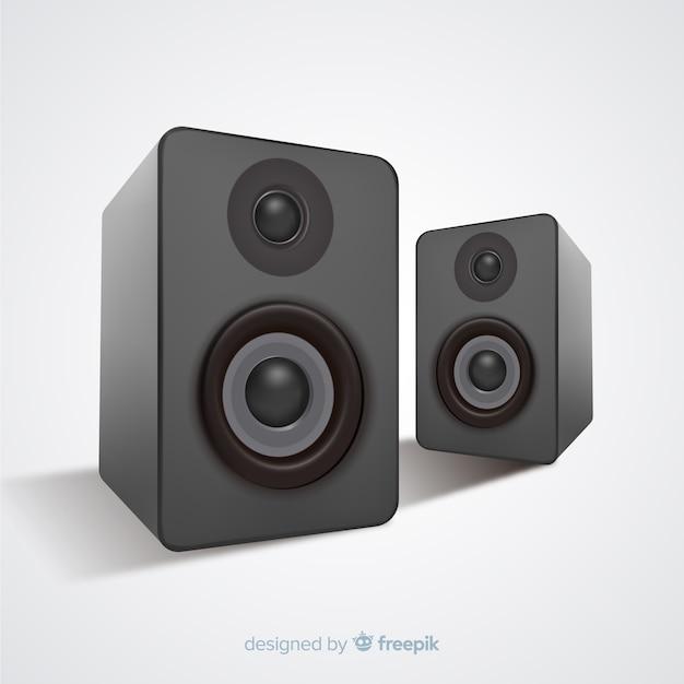 Realistische 3d zwarte sprekersachtergrond Gratis Vector