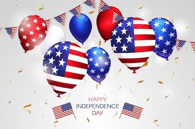 Realistische 4 juli - onafhankelijkheidsdag ballonnen achtergrond Gratis Vector