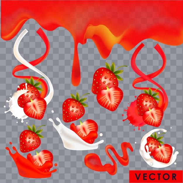 Realistische aardbeiyoghurt en sapspatten Premium Vector