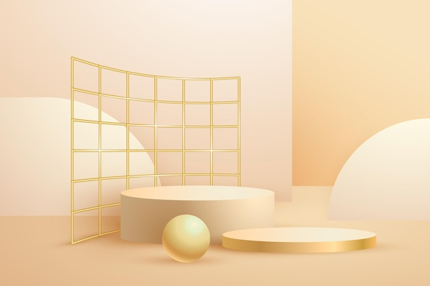 Realistische abstracte geometrische goud verijdelde 3d-vormen Gratis Vector