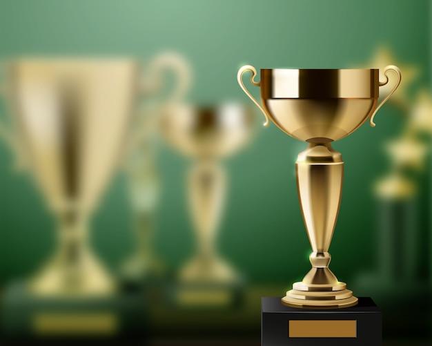 Realistische achtergrond met glanzende gouden trofee awards cups Gratis Vector