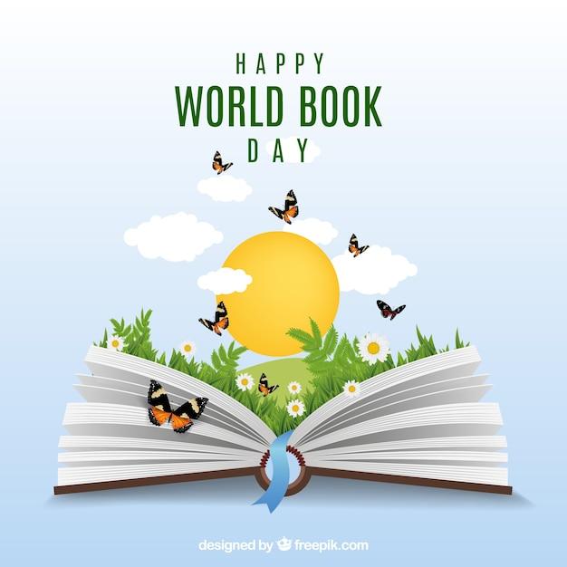 Realistische achtergrond met open boek en vlinders Gratis Vector