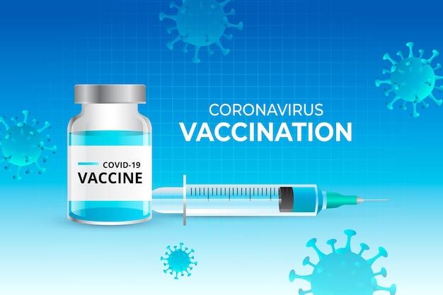 Realistische achtergrond van het coronavirusvaccin Gratis Vector