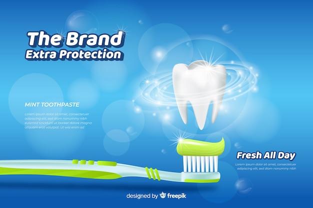 Realistische advertentieadvertentie voor verse tandpasta Gratis Vector