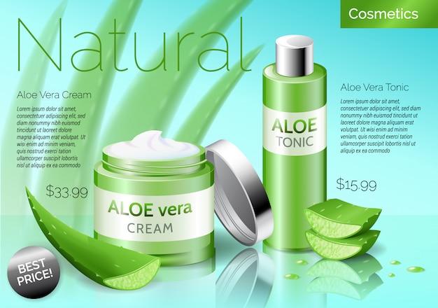 Realistische aloë vera cosmetica producten, fles met tonic en crème Premium Vector