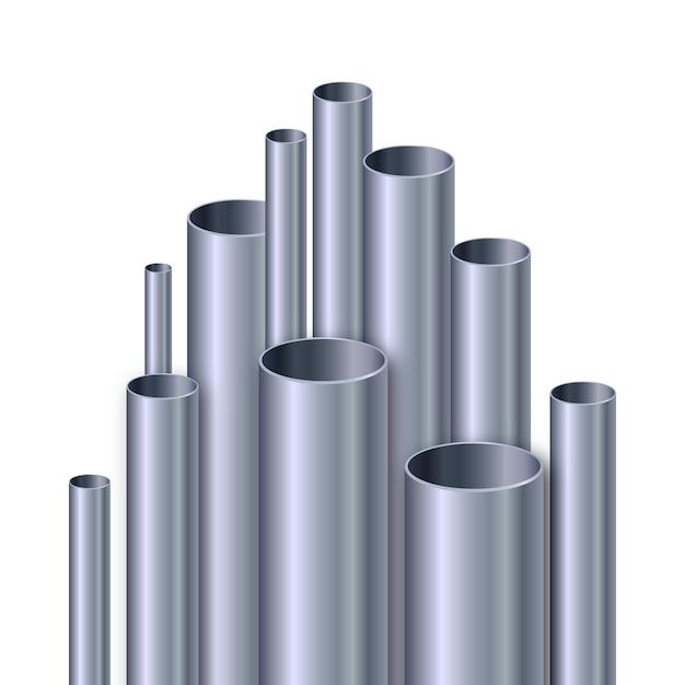 Realistische aluminium buizen illustratie Gratis Vector