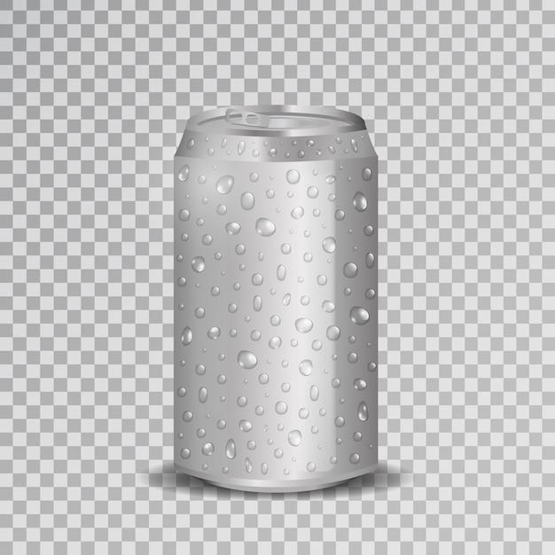 Realistische aluminium frisdrankblikje met waterdruppels op de transparante achtergrond. Premium Vector