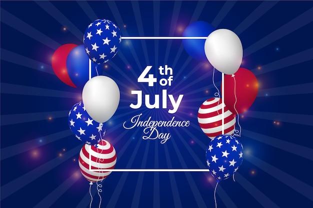 Realistische amerikaanse onafhankelijkheidsdag achtergrond Gratis Vector