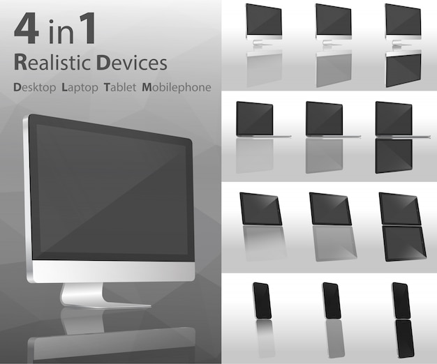 Realistische apparaten desktop Premium Vector