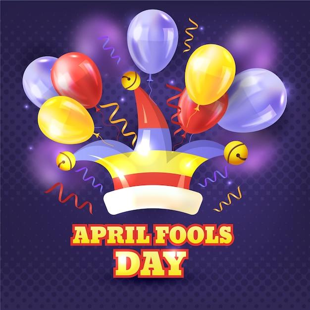 Realistische april dwazendag met ballonnen Gratis Vector